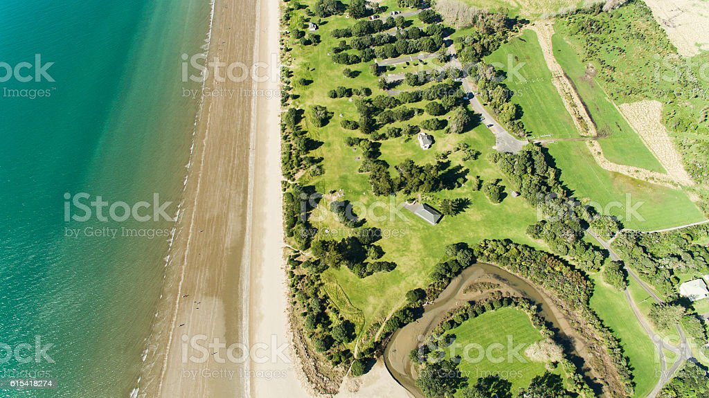 Aerial view Long Bay. stock photo
