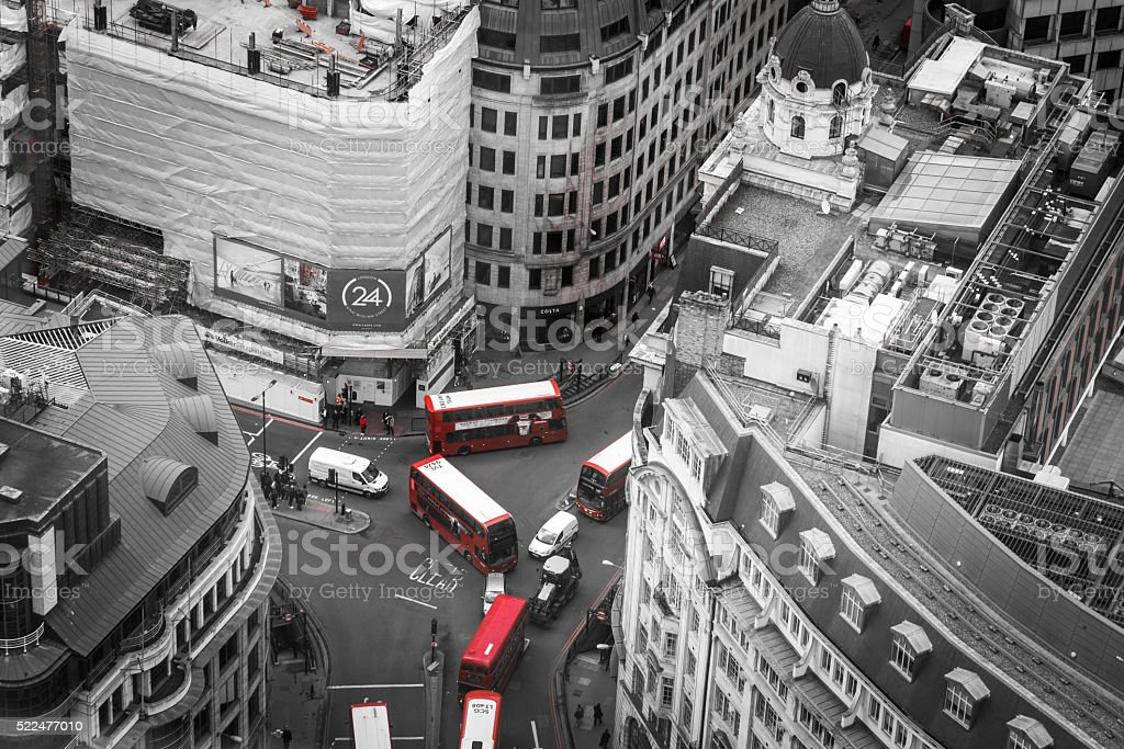 Aerial view looking down on traffic, City of London stock photo