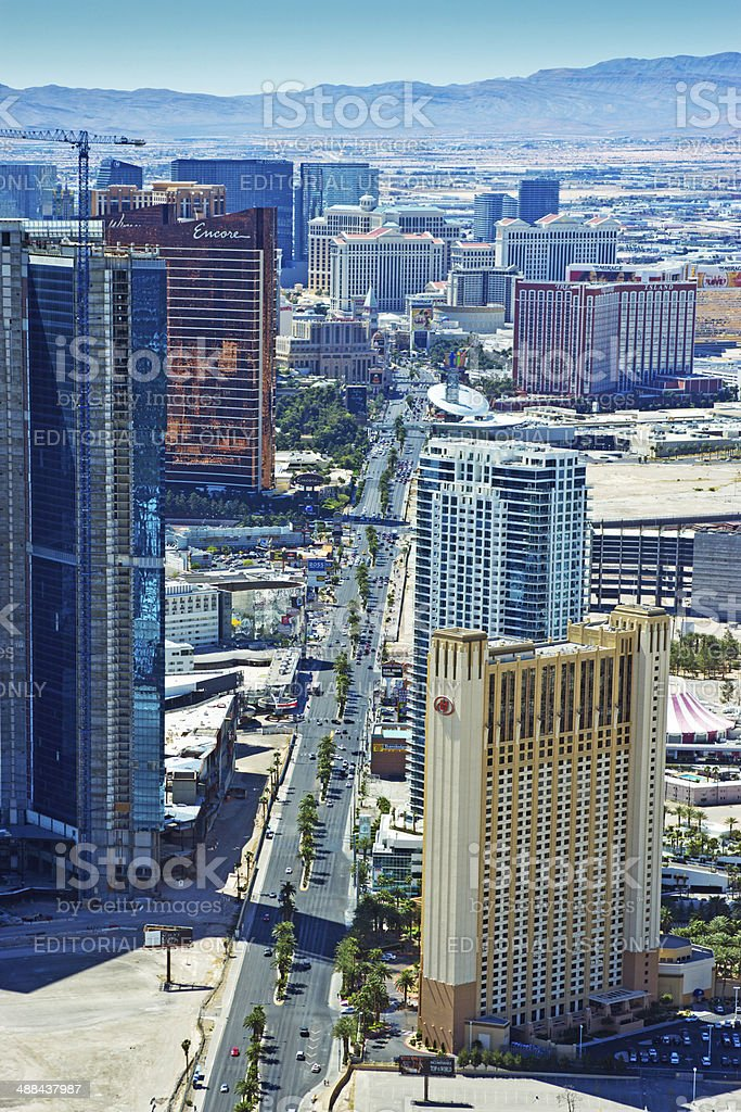Aerial view looking down the strip stock photo