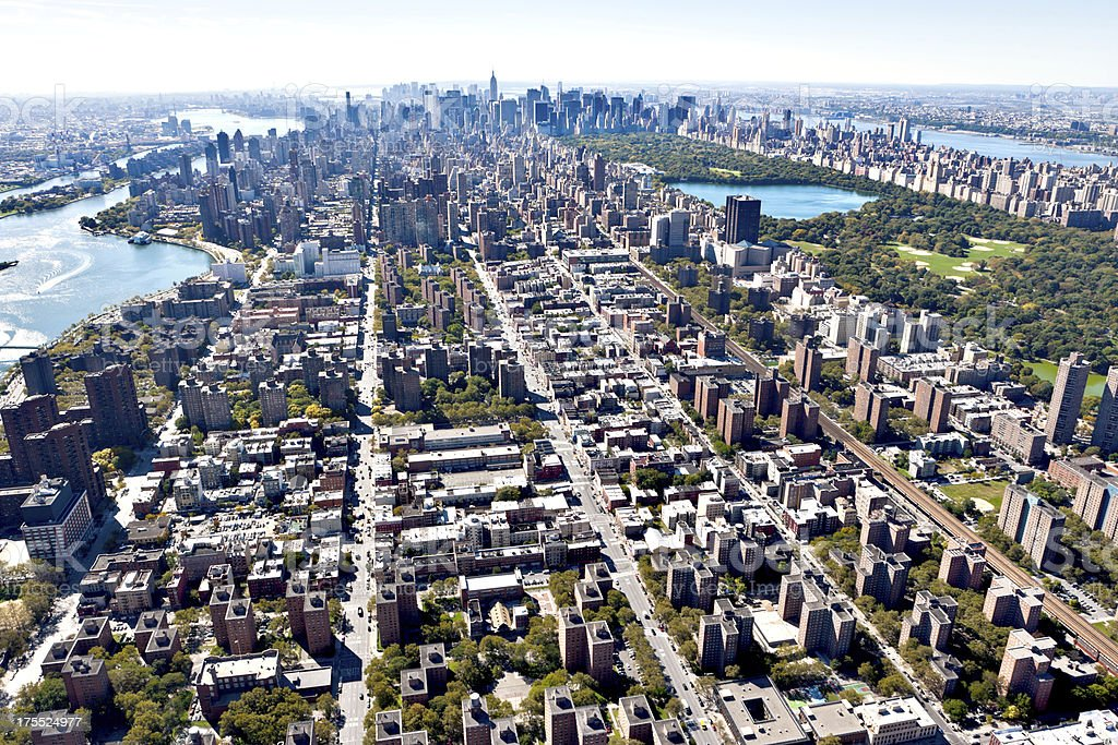 aerial view manhattan upper east side stock photo