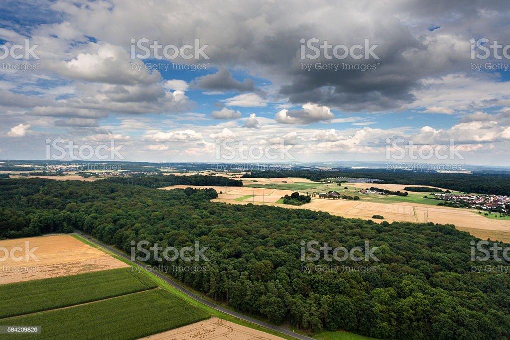 Aerial view - Mittelhessen, Germany stock photo