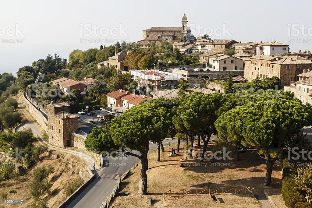 Aerial View, Montalcino, the City of Brunello Wine, Italy stock photo