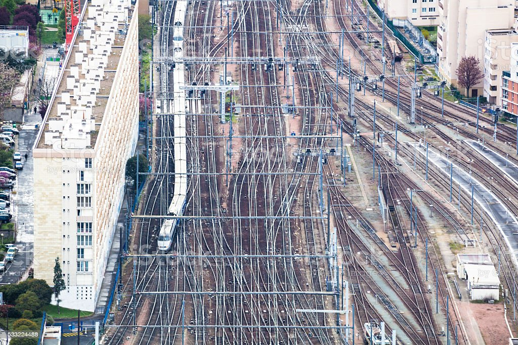 aerial view Montparnasse station Paris trains and tracks and apartments stock photo