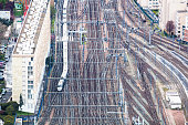 aerial view Montparnasse station Paris trains and tracks and apartments