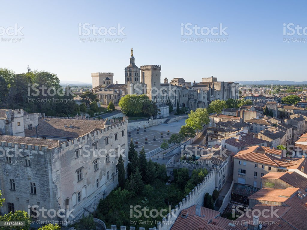 aerial view morning Papal Palace, Avignon, France stock photo
