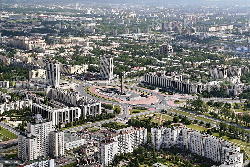Aerial view Moscow district of St. Petersburg, Russia. stock photo