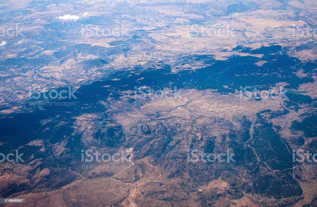 Aerial view mountain peak landscape stock photo