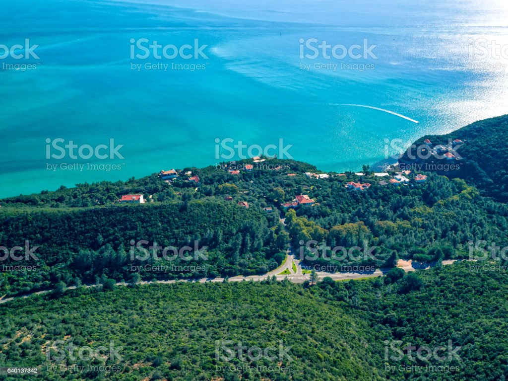 Aerial View Ocean Coastal Landscape of Nature Park stock photo