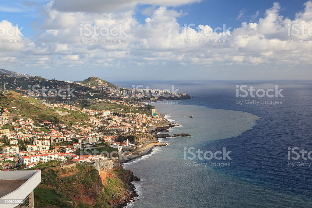 Aerial view od Madeira island from Cabo Girao, Portugal stock photo