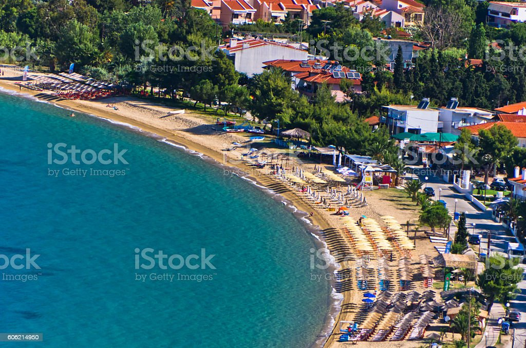 Aerial view of a beach at small greek village Toroni stock photo