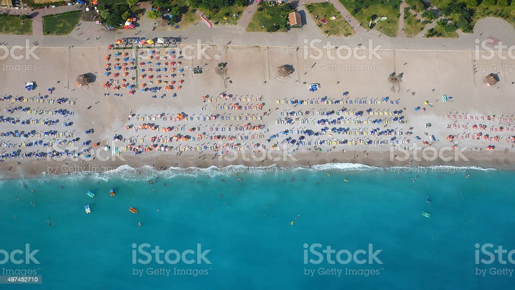 aerial view of a beach from above stock photo