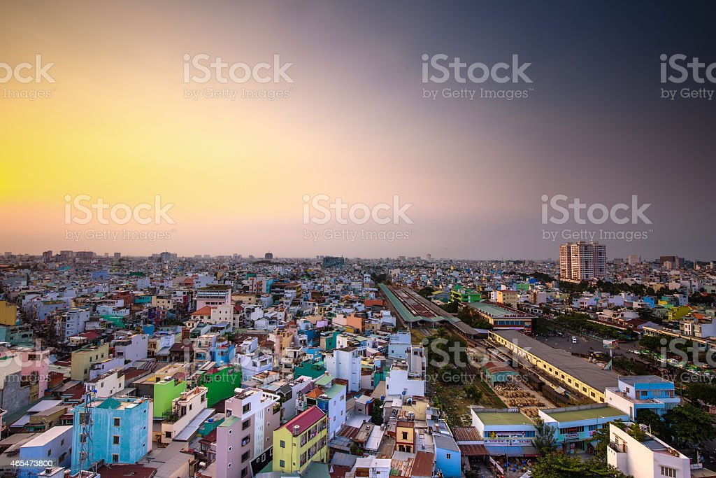 Aerial view of a beautiful Saigon afternoon stock photo