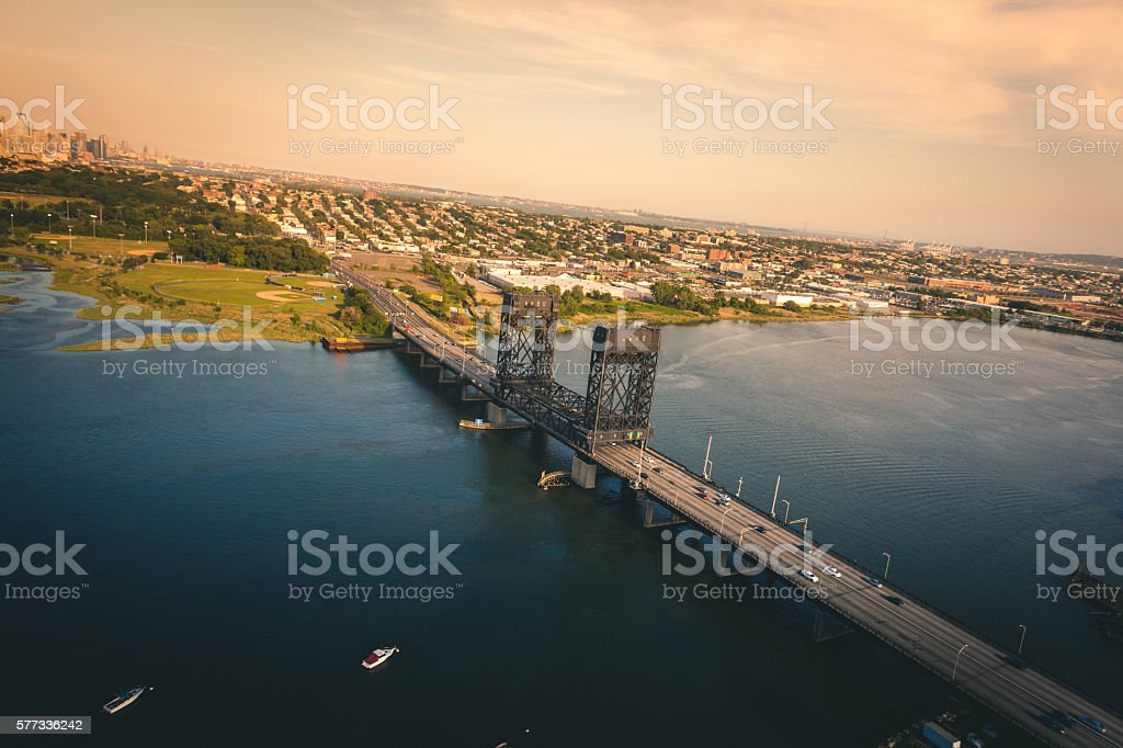 Aerial view of a bridge in New Jersey royalty-free stock photo