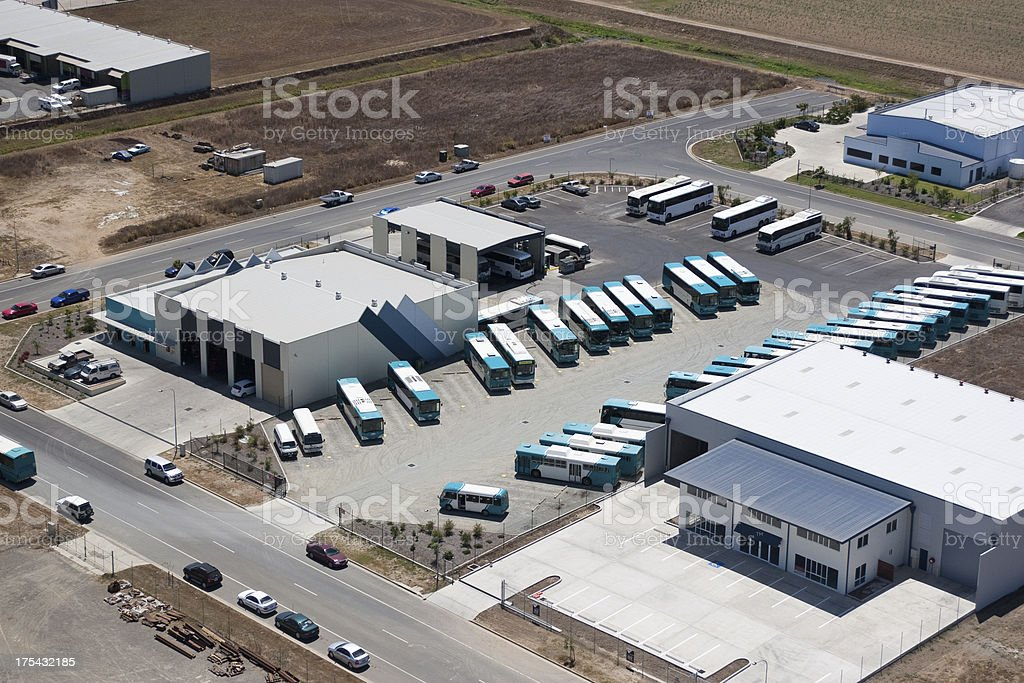 Aerial view of a bus station depot royalty-free stock photo