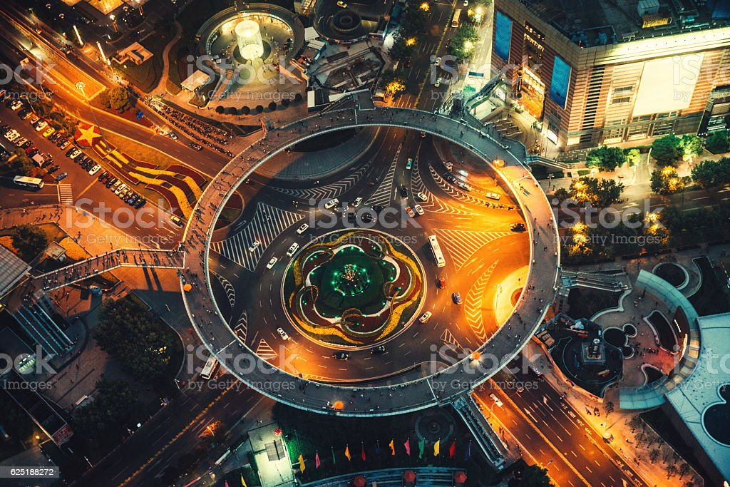 aerial view of a circular traffic roundabout in Pudong, Shanghai stock photo