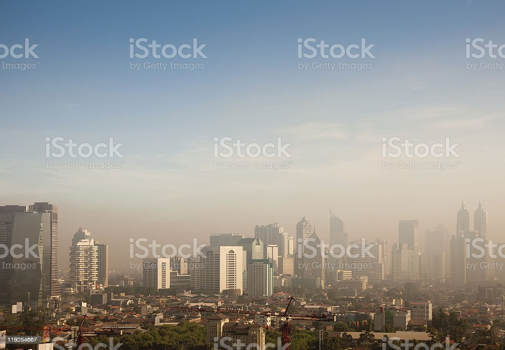 Aerial view of a city with smog royalty-free stock photo