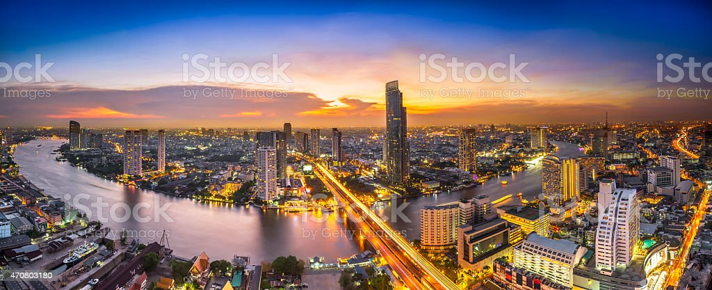 Aerial view of a cityscape at night stock photo