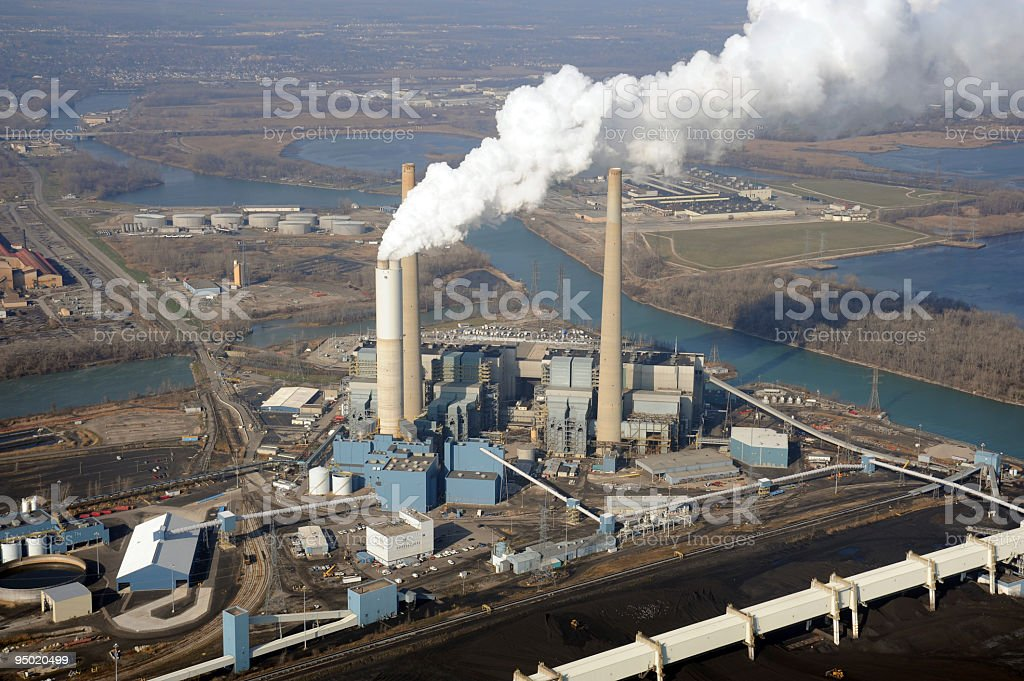 Aerial View of a Coal Fired Power Station royalty-free stock photo