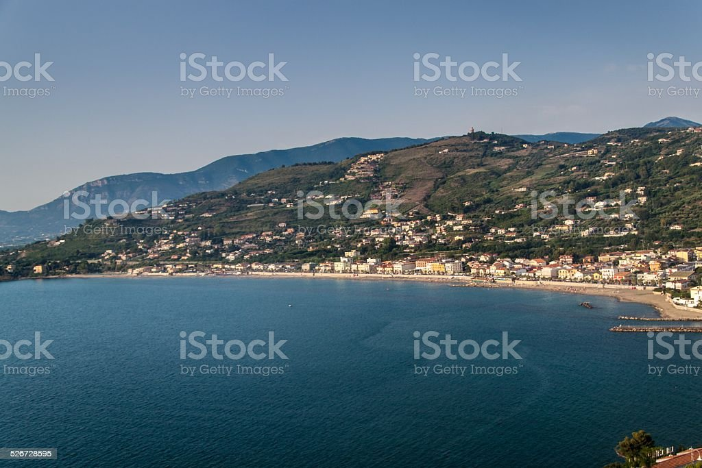 Aerial view of a coast in Agropoli stock photo