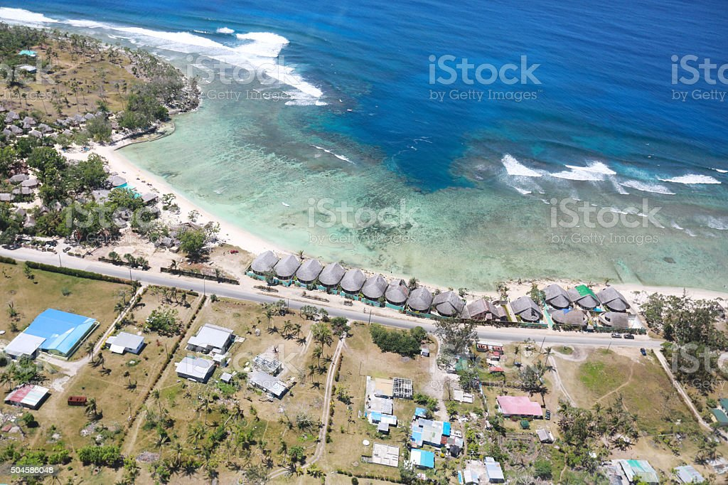 Aerial view of a coastline stock photo