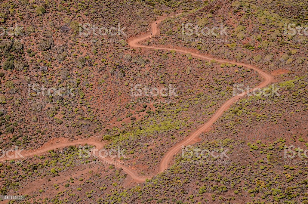 Aerial View of a Desert Road stock photo