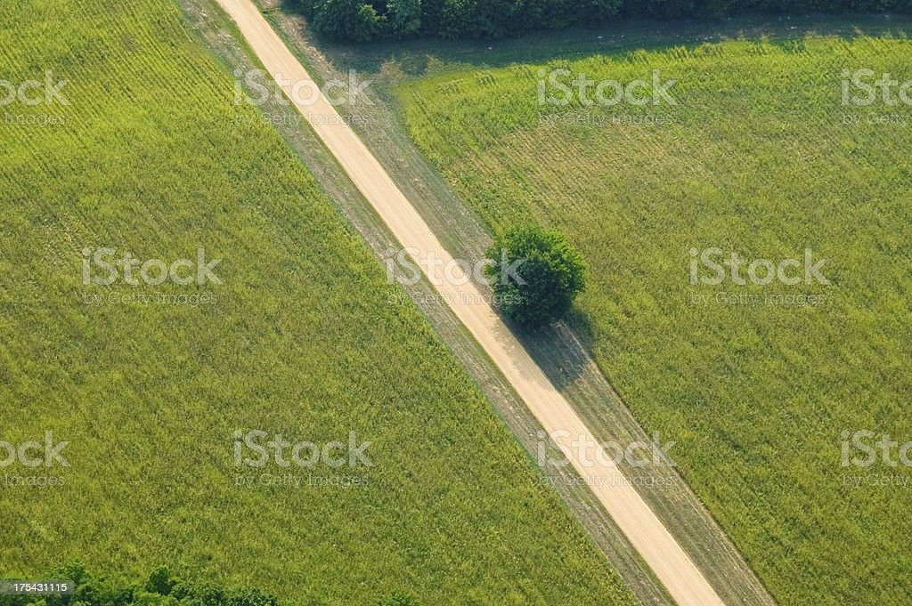 Aerial view of a dirt road. royalty-free stock photo