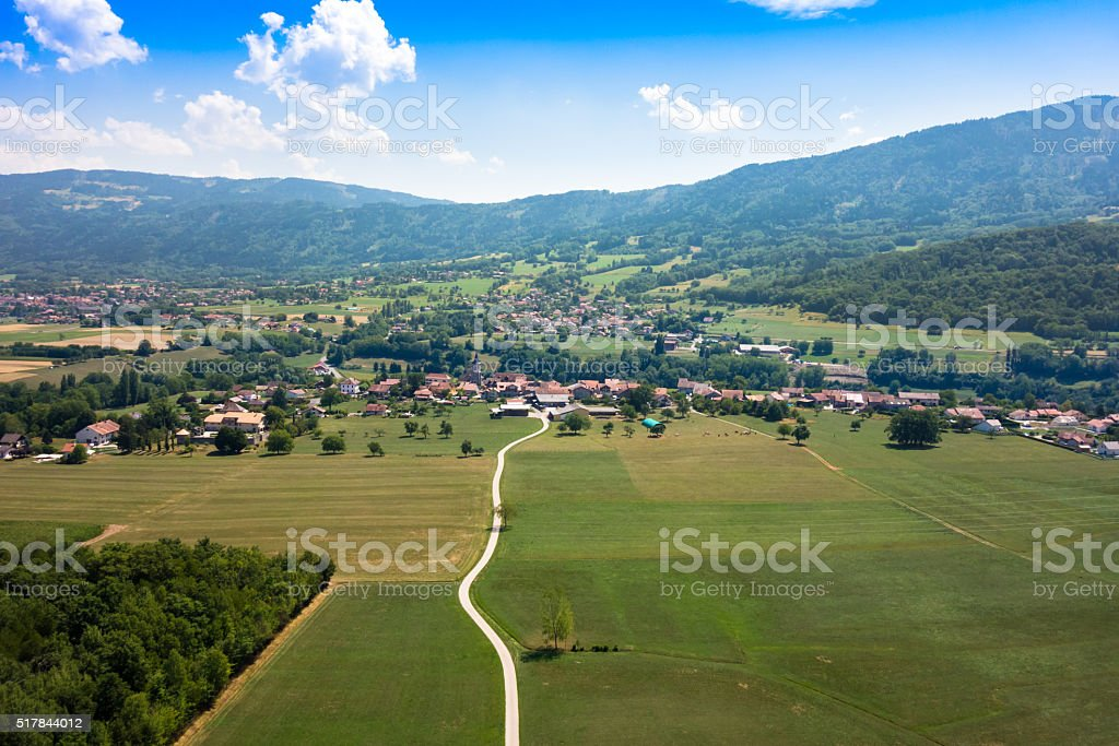 Aerial view of a French village in Haute Savoie France stock photo