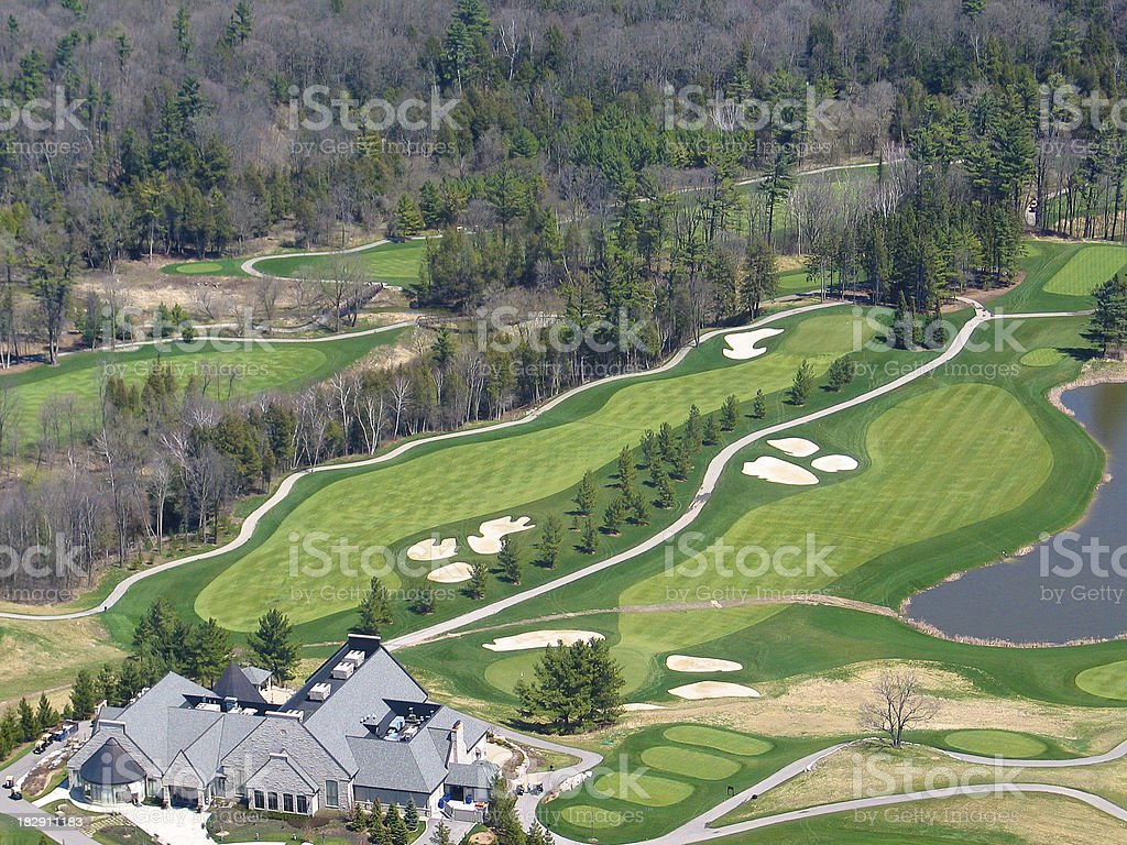 Aerial view of a golfcourse stock photo