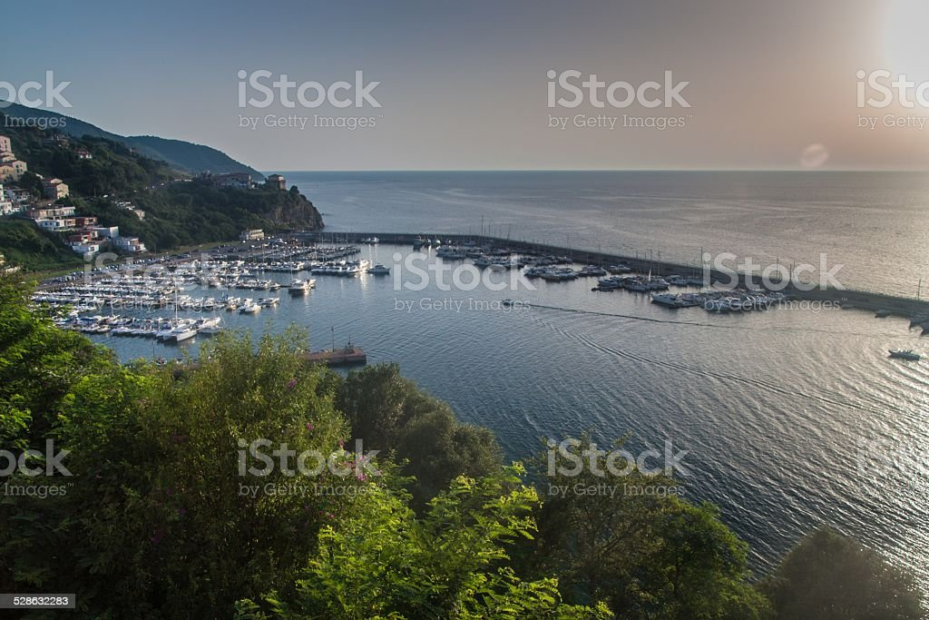 Aerial view of a harbor in Agropoli stock photo