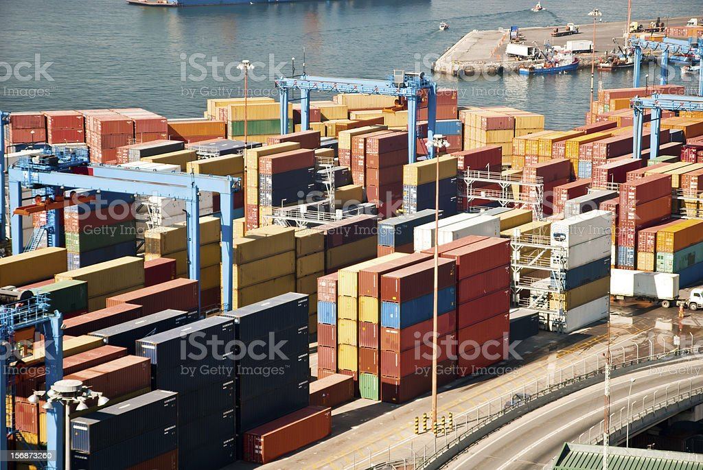 Aerial view of a harbor stock photo