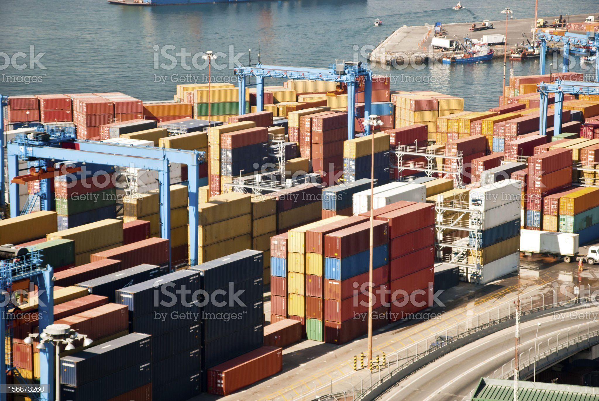 Aerial view of a harbor royalty-free stock photo
