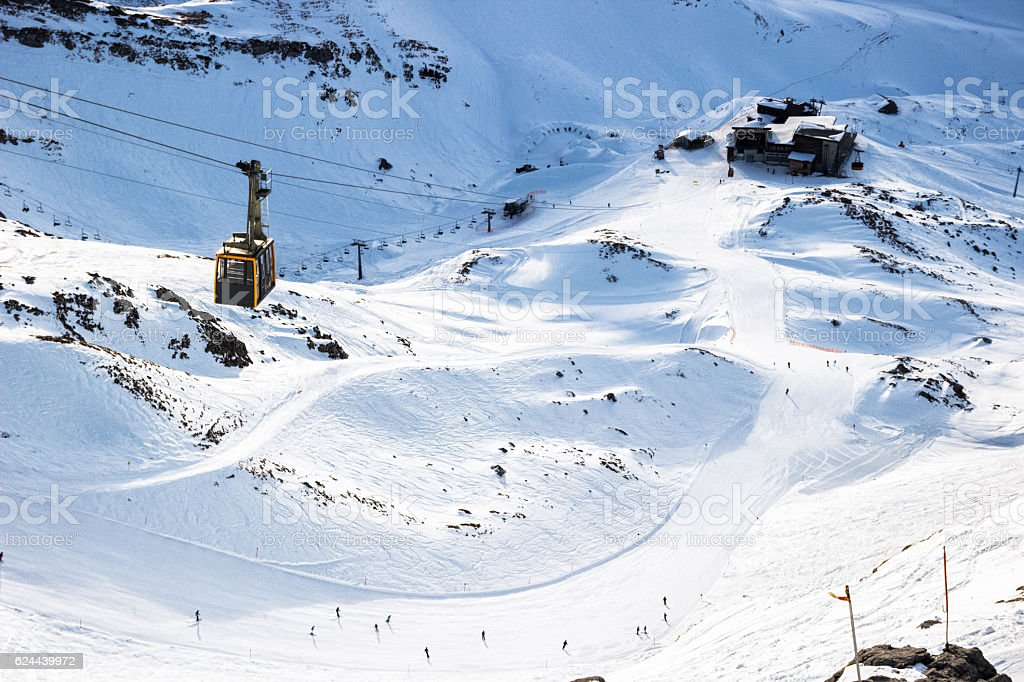 Aerial view of a highland ski slope with cable car stock photo