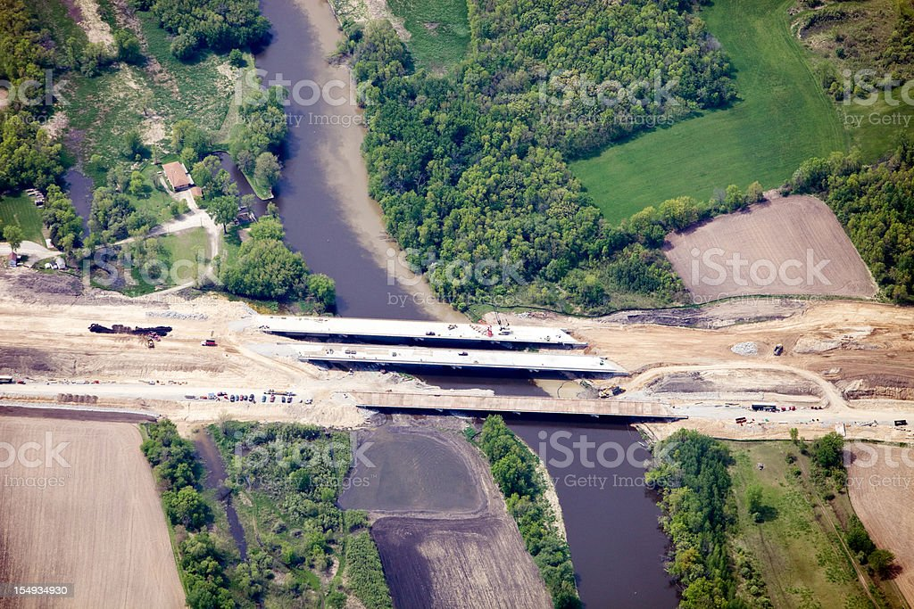 Aerial View of a Highway Bridge Construction Project royalty-free stock photo
