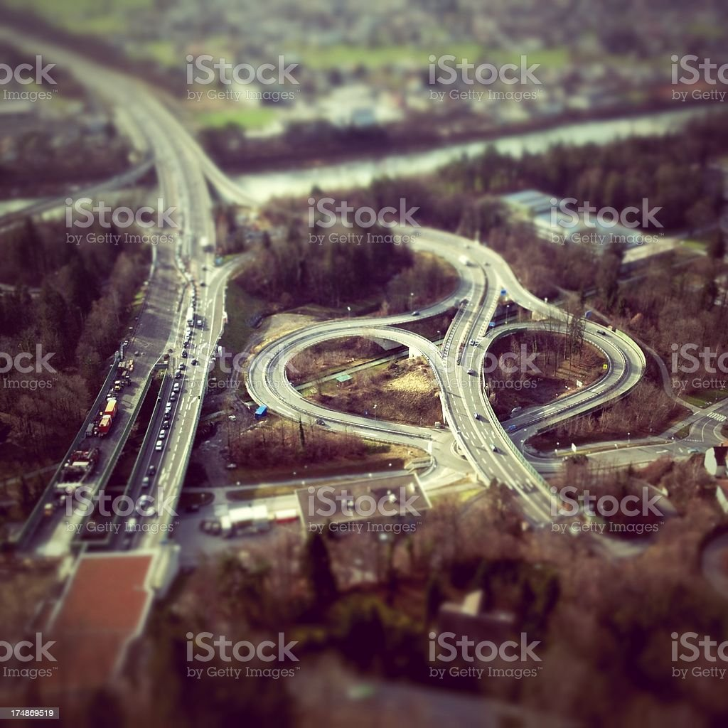 Aerial View of a Highway Interchange royalty-free stock photo