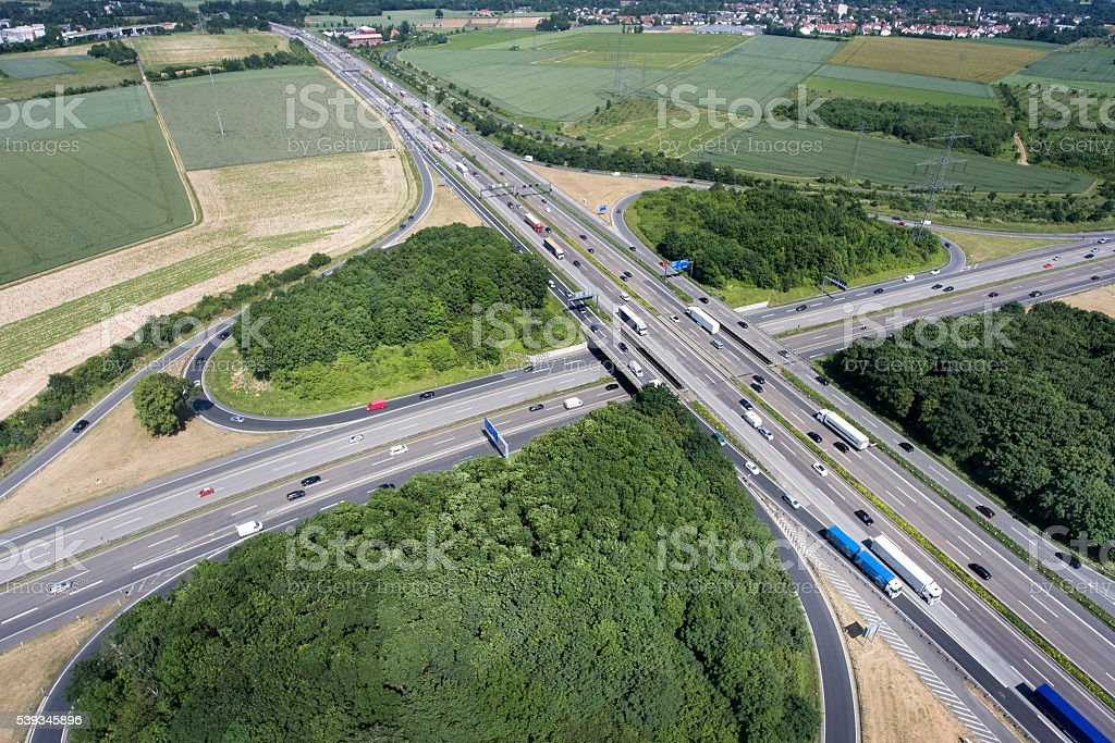Aerial view of a highway intersection -  Bad Homburger Kreuz stock photo