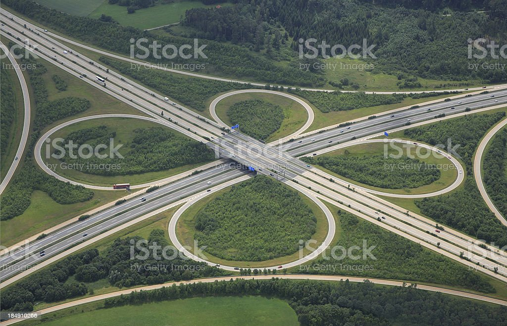 Aerial View of a Highway Intersection stock photo