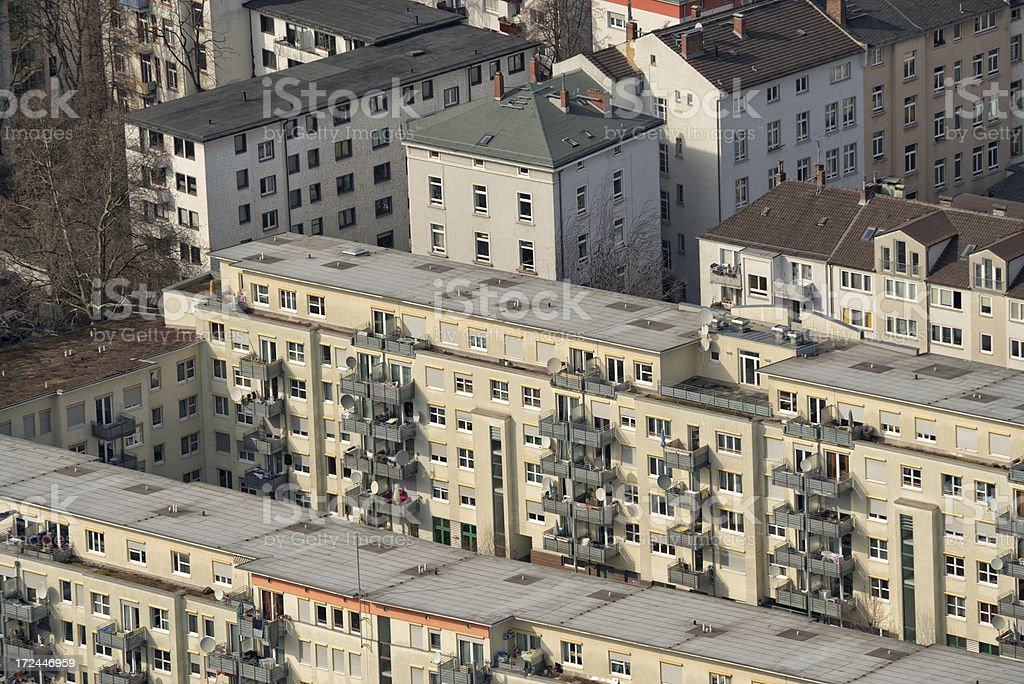 Aerial view of a housing area, Frankfurt, Germany royalty-free stock photo