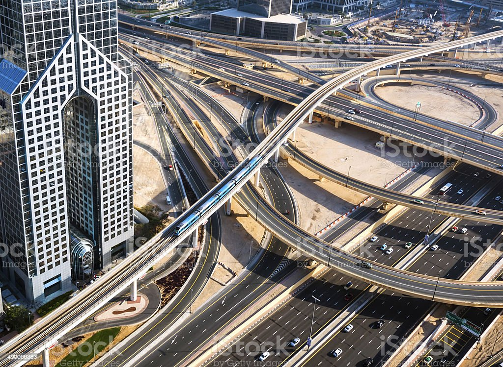 Aerial view of a huge highway junction and metro royalty-free stock photo
