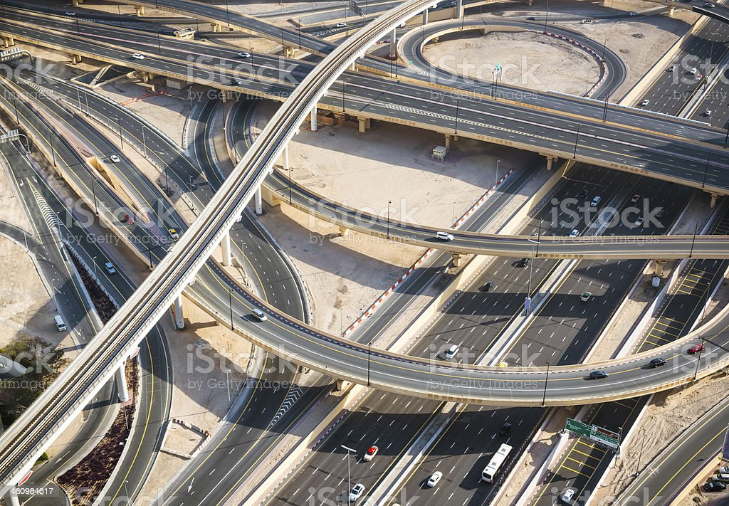 Aerial view of a huge highway junction stock photo