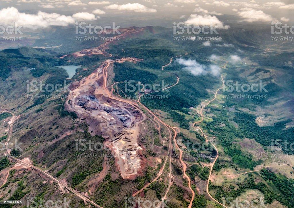 Aerial view of a iron mine exploitation production. Cerro Bolivar, Venezuela stock photo