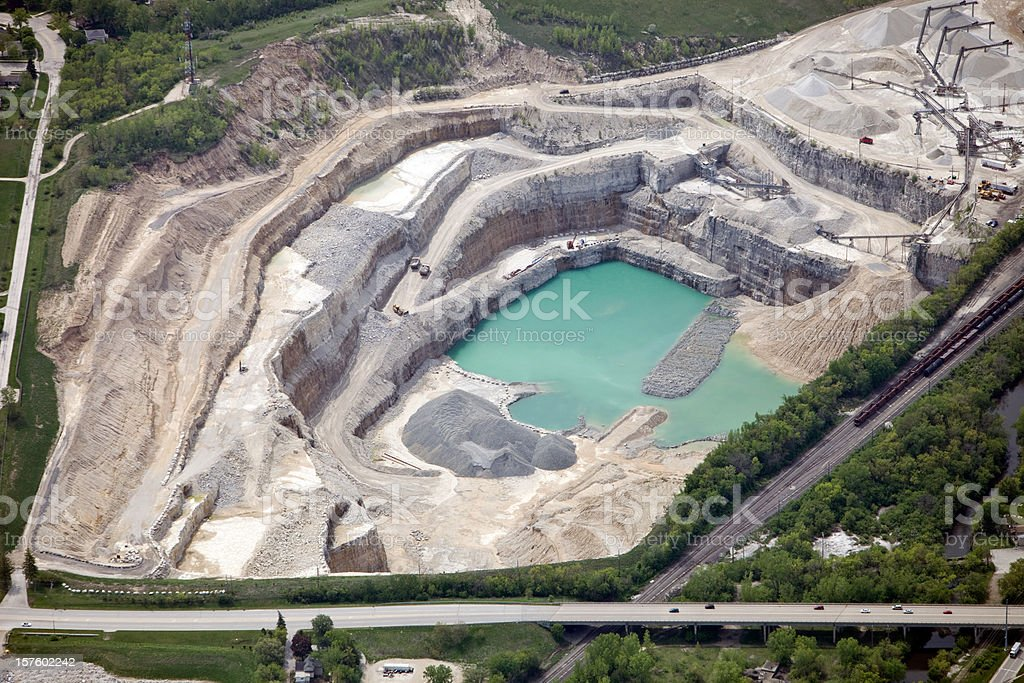 Aerial View of a Large Quarry and Rock Crushing Operation stock photo