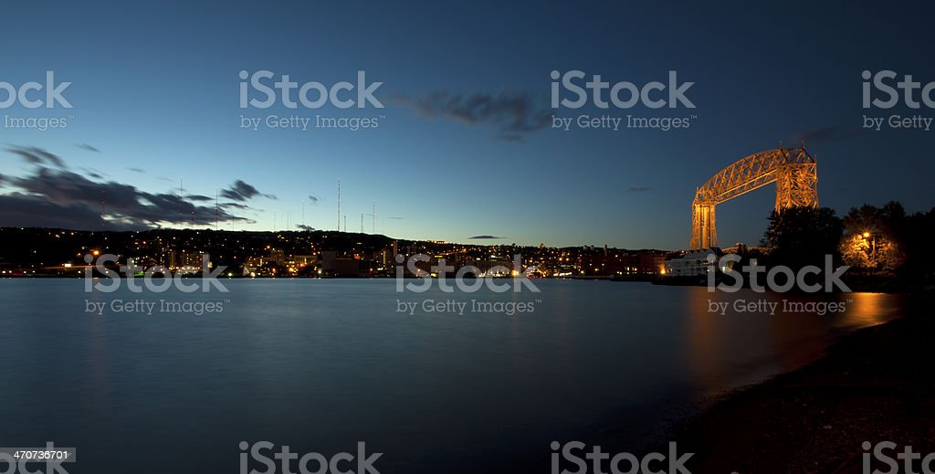 Aerial view of a lift bridge in Duluth, Minnesota stock photo