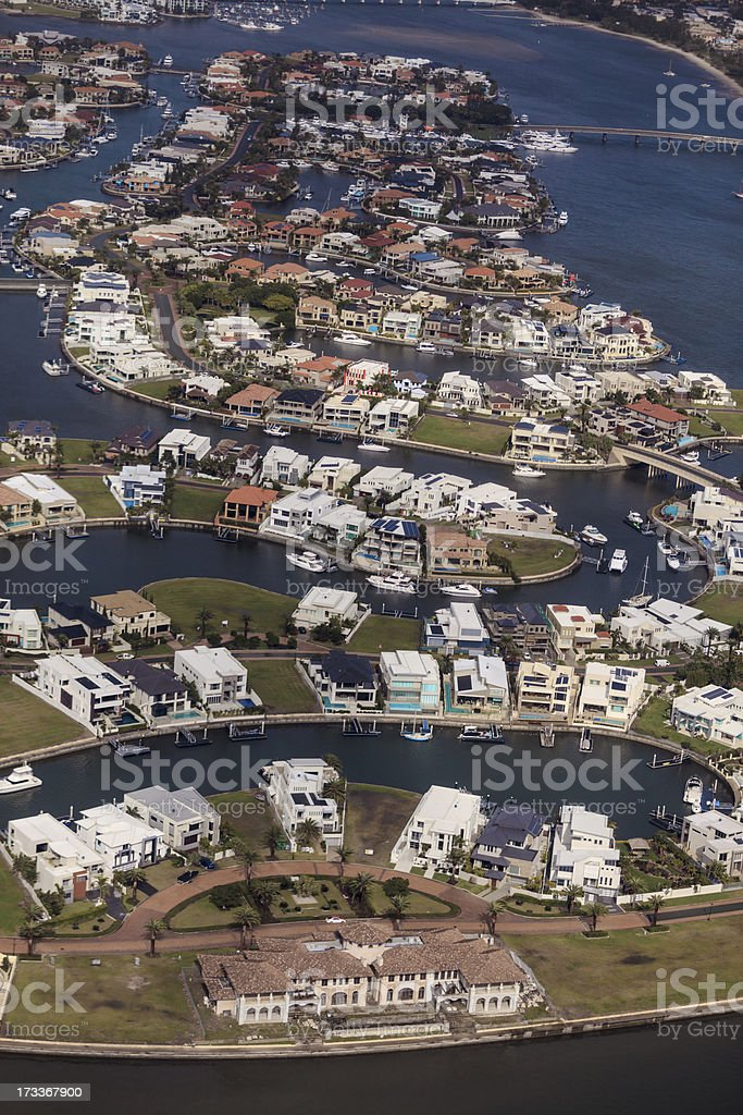 Aerial view of a Luxury Waterfront Housing Estate royalty-free stock photo