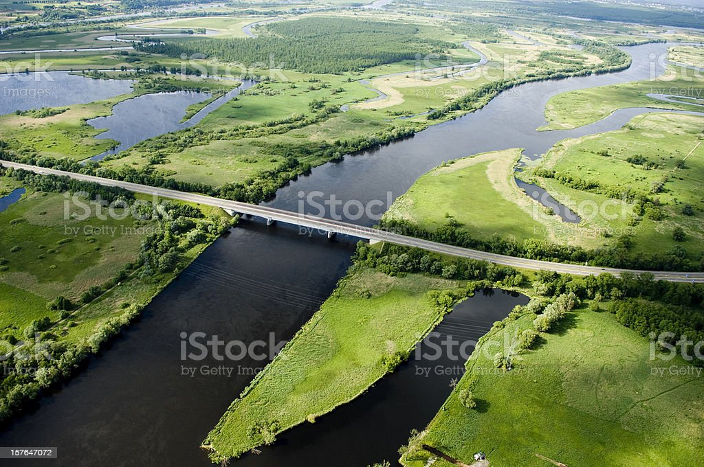 aerial view of a motorway royalty-free stock photo