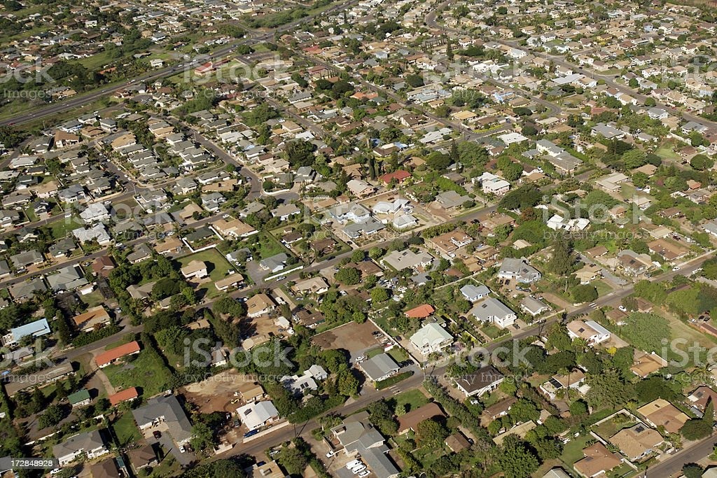 Aerial View of a Neighborhood. stock photo