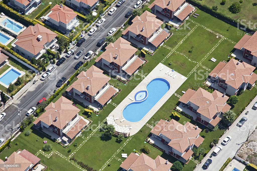 aerial view of a neighborhood stock photo