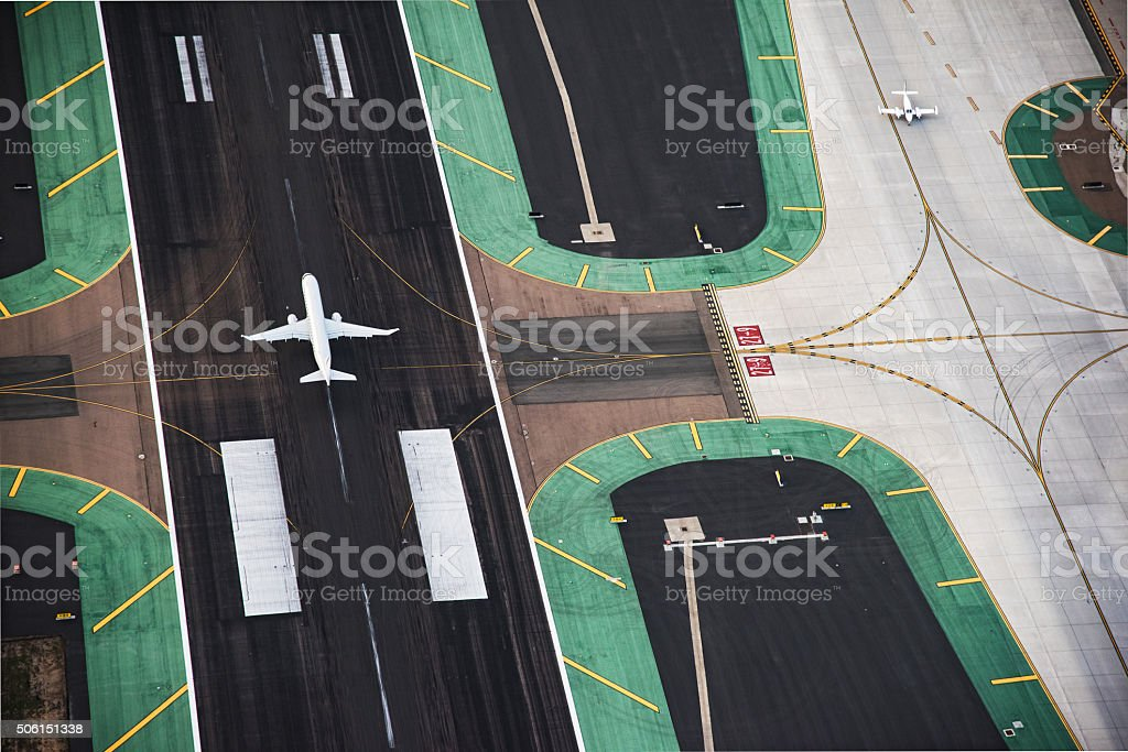 Aerial View of a Passenger Jet on the Runway stock photo