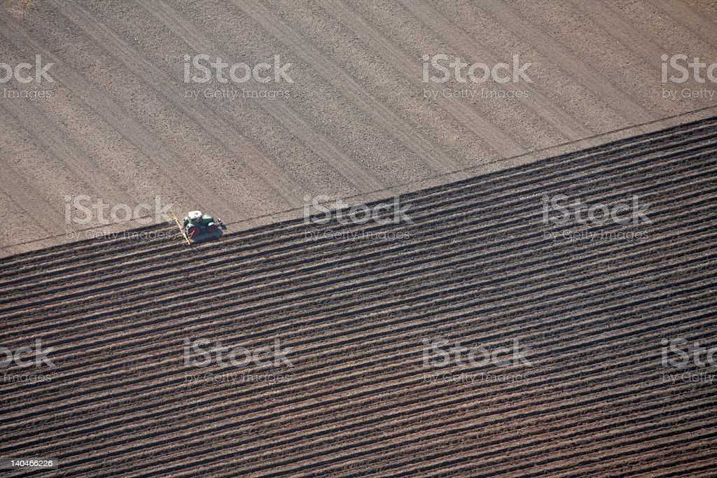 Aerial view of a pattern with vertical and horizontal rows royalty-free stock photo