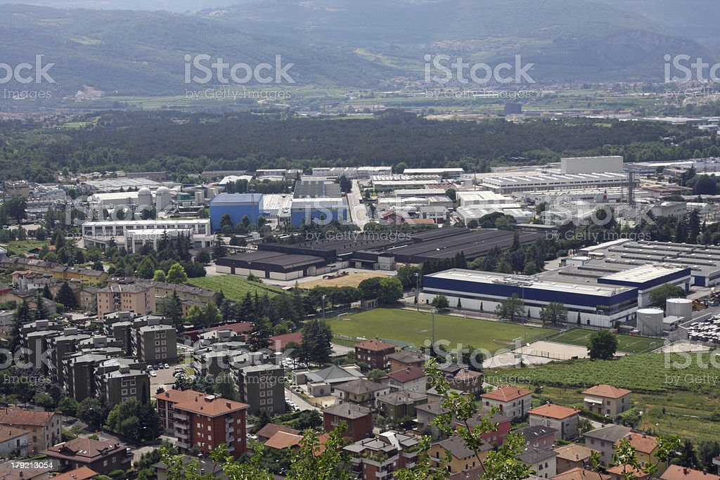 Aerial view of a populous city with many houses royalty-free stock photo