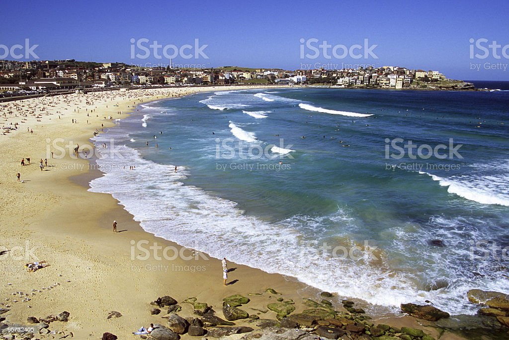 Aerial view of a pristine sea at Bondi Beach, Sydney royalty-free stock photo